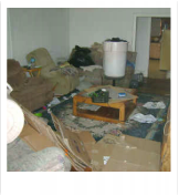Picture example of tenants that have treated home poorly. Living room is dishelved.