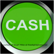Picture of large green button test on button reads cash